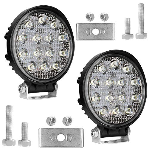 AllExtreme EX14RW2 14 LED Round Fog Light 4 Inches Waterproof Off Road Driving Lamp for Car and Motorcycle (42W, White…