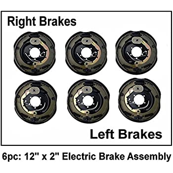 """2 12/"""" X 2/"""" Electric Trailer Brake Assembly Left Right Side 7000 6000 Axle Pair"""