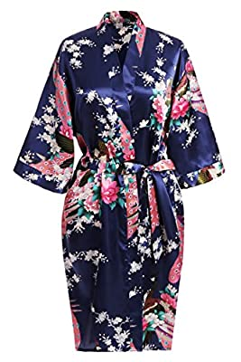 USDisc't Elegant Short Sleeve Printing Peacock Silk Women's Kimono Robe for Parties Wedding Bridal and Bridesmaid