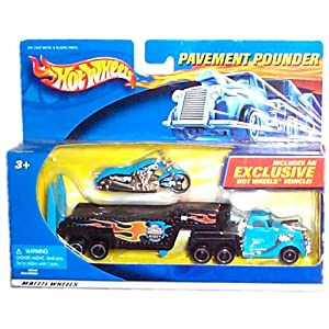 Hot Wheels - Pavement Pounder Replica Transport Tractor/Trailer Rig and Motorcycle