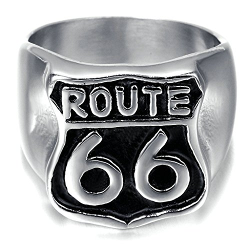 """Alimab Stainless Steel Finger Rings Silver Black """"ROUTE 66"""" for Mens Womens US Size 12"""
