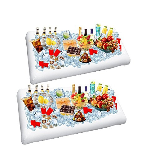 2 Pack Inflatable Serving Bar - Buffet Ice Cooler Beverage Serving Bar - Salad Bar Tray Food Drink Holder - BBQ Picnic Pool Party Buffet Luau Cooler With Drain Plug