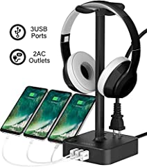 Unique Features: While other headset stands only offer a place to store your headphones, the COZOO Aluminum Headset Stand is equipped with 3 USB Charging hub and 2 AC outlets, providing easy Charge to your Devices.   Charge 3 & Desktop Or...