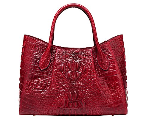 Jair Red High End Womens Stylish Crocodile Embossed Office Cross Body Bag Leather Tote Handbag Purse Organizer