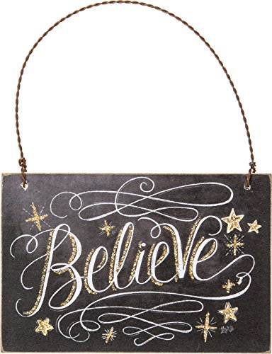 Primitives By Kathy 4.50 Inches x 3 Inches Chalk Ornament Believe Decorative Sign -