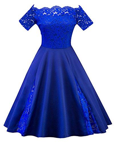 GAMISS Women's Plus Size Vintage Floral Lace Dress Short Sleeve Off Shoulder Cocktail Dress-Royal Blue-XL