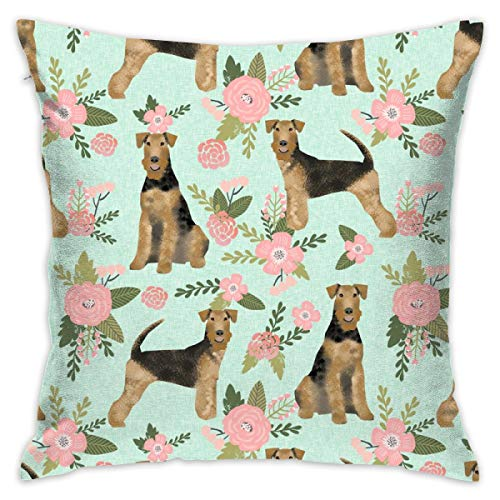 smartgood Airedale Terrier Dog Breed Pet Quilt D Quilt Floral Coordinate Quilt Dog Fabric_8091 Throw Pillow Case Cushion Cover Cotton Linen Decorative Pillowcase for Home Sofa Car 18 x 18 Inches ()