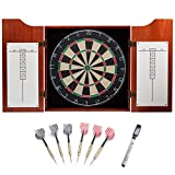 GSE Games & Sports Expert Solid Wood Dartboard Cabinet Set with Bristle Dartboard and 6 Steel Tip Darts (Oak/Mahogany) (Mahogany)