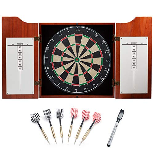 - GSE Games & Sports Expert Solid Wood Dartboard Cabinet Set with Bristle Dartboard and 6 Steel Tip Darts (Oak/Mahogany) (Mahogany)