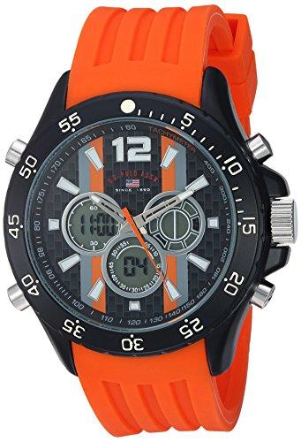 U.S. Polo Assn. Men's Quartz Metal and Rubber Casual Watch, Color:Orange (Model: US9526)