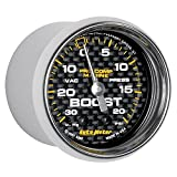 Auto Meter AutoMeter 200774-40 Gauge, Vac/Boost, 2 1/16'', 30Inhg-20Psi, Mechanical, Marine Carbon Fiber