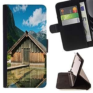For Sony Xperia Z1 L39 Case , Cabinas Lake- la tarjeta de Crédito Slots PU Funda de cuero Monedero caso cubierta de piel