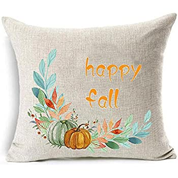 Amazon.com: Poppylife Autumn Pumpkins Polyester Throw Pillow Covers 18 x 18 Inches: Home & Kitchen