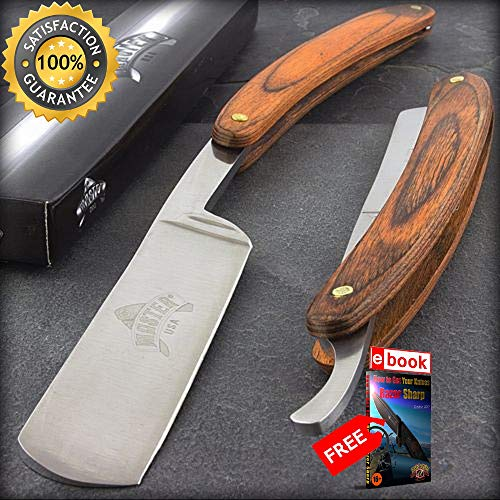 9.5'' STRAIGHT EDGE FOLDING STEEL RAZOR WOOD HANDLE Shaving Knife Barber Beard Combat Tactical Knife + eBOOK by Moon Knives ()