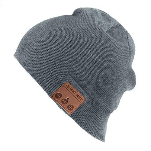 Happy-top Bluetooth Music Soft Warm Beanie Hat Cap Stereo Headphone Headset Speaker Wireless Mic Hands-Free Men Women Gift (Light Grey)