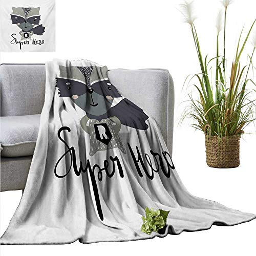 AndyTours Beach Blanket,Nursery,Cartoon Style Raccoon Super Hero with a Costume and Cape Childish Animal Design,Multicolor,300GSM, Super Soft and Warm, Durable 70