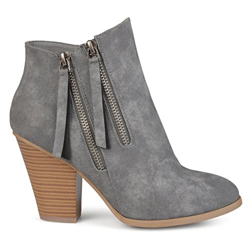 Brinley Co Womens Faux Suede Stacked Wood Heel Double Zipper Booties Grey