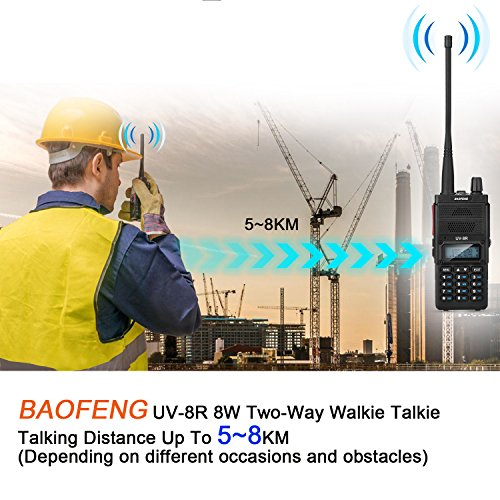 Two Way Radio, Baofeng UV-8R (Upgraded UV-5R) 8-Watt Ham Radio Transceiver Walkie Talkies Dual Band (136-174MHz VHF & 400-520MHz UHF), VOX Function with Earpiece, Extended Antenna & 2000mah Battery by BaoFeng (Image #8)