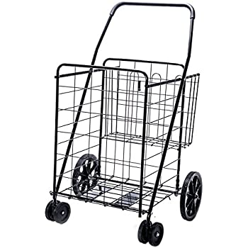 Jumbo Deluxe Folding Shopping Cart with Dual Swivel Wheels and Double Basket- 200 lb capacity!