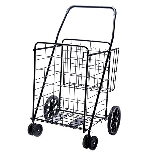 Jumbo Deluxe Folding Shopping Cart with Dual Swivel Wheels and Double Basket- 200 lb capacity! by Lifestyle Solutions