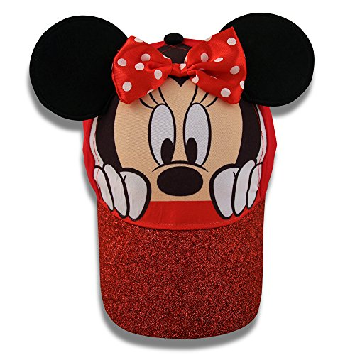 Disney Little Girls Minnie Mouse Character Cotton Baseball Cap, Age 2-7 (Little Girls - Age 4-7 - 53CM, Red) by Disney (Image #3)