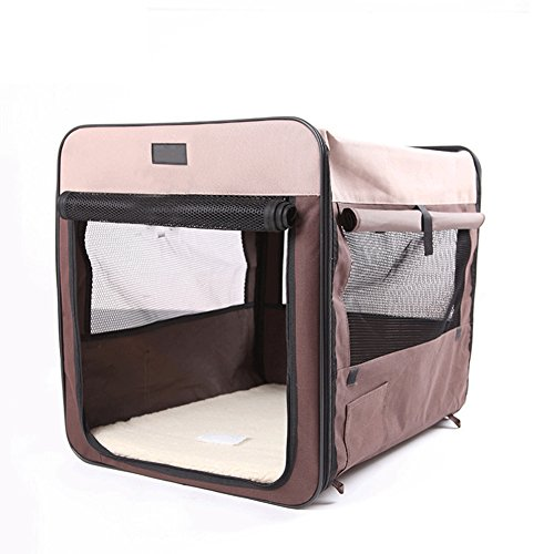 Collapsible Hard Cover Pet Carrier - Portable Cat Travel Kennel Hard Top & Floor Made from Sturdy Lightweight Fabrics,Brown