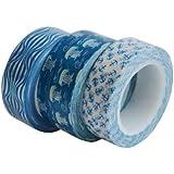 Washi Tape 3er Set, Maritim, 3 x 10 m, Dekoratives Klebeband, Masking Tape, Dekoband Reispapierklebeband aus Asien, Washi Masking Tape