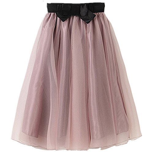 YSJ Lady's Organza Princess Skirt Bowknot Pleated Midi/ Knee Length TUTU Skirts, Lavender Blush, Large
