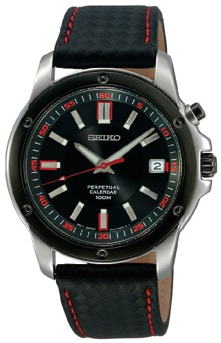 (Seiko Men's SNQ097 Perpetual Calendar  Black Ion Finish Black Bezel Strap Watch)