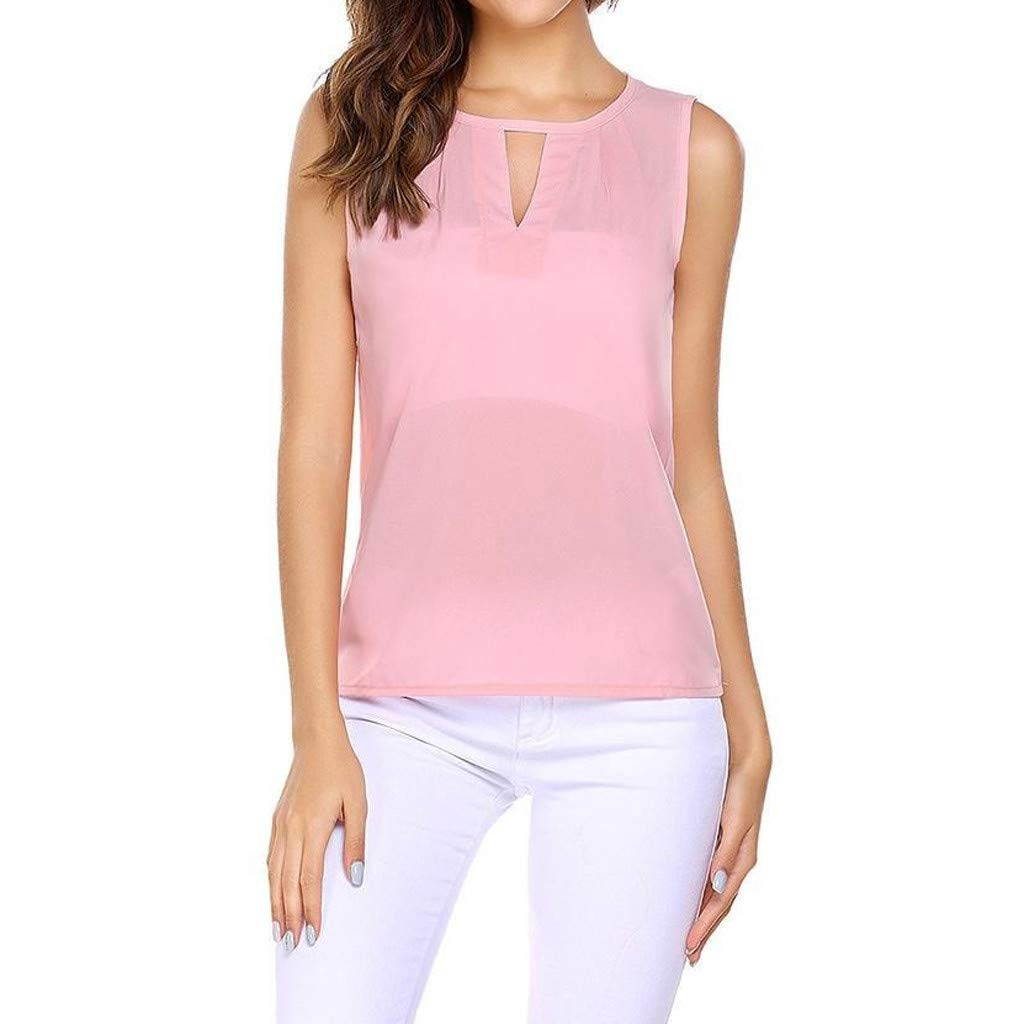 NUWFOR Fashion Women Sexy Solid O-Neck Hollow Out Sleeveless Casual Crop Tank Top(Pink,US M Bust:35.37'')