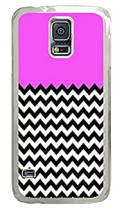 Samsung Galaxy S5 sparkly cover Pink And Black Chevron PC Transparent Custom Samsung Galaxy S5 Case Cover