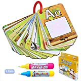 Suelight A-Z 26 Alphabet Water Painting Cards,Reusable Reveal Word Card,No Chemicals, No Mess, Doodle Pad, Word Flash Card, Educational Toy for Kids, 2 Magic Pen Included
