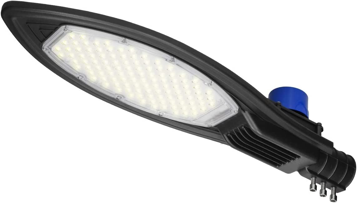 ECD Germany Farola LED de calle con sensor crepuscular 100W - AC85-265V - Blanco cálido 6000K - Impermeable IP66-10.000 lúmenes - para Jardín/Patio/Carretera - Lámpara LED de calle exterior