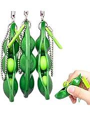 """Rmeet Fidget-leksak, bönor, nyckelring i 3-pack för barn och tonåringar """"kläm-en-böna""""-leksak för att lindra ångest och stress"""