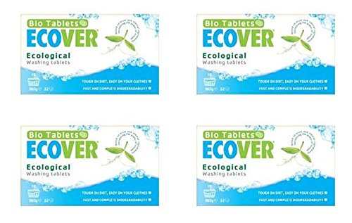 (4 PACK) - Ecover Laundry Washing Tablets - 32 Washes | 32s | 4 PACK - SUPER SAVER - SAVE MONEY by ECOVER (UK)