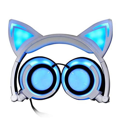 Eoncore Foldable LED Lights Cat Ear Headphones for Kids Teens USB Rechargeable 3.5mm Stereo On-Ear Music Gaming Earphones Headband Headsets (White)