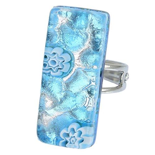 - GlassOfVenice Murano Glass Venetian Reflections Rectangular Adjustable Ring - Aqua S