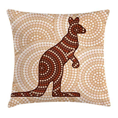 Ambesonne Tropical Animals Throw Pillow Cushion Cover, Aboriginal Kangaroo Motif Cream Toned Circling Dot Design, Decorative Square Accent Pillow Case, 16