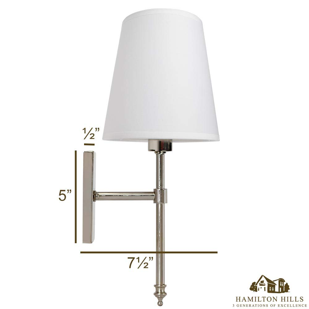 / Interior Lighting Hamilton Hills HH1112-L Single Traditional Wall Light with Fabric Shade /Polished Nickel Vanity Lamp Sconce with LED Bulb