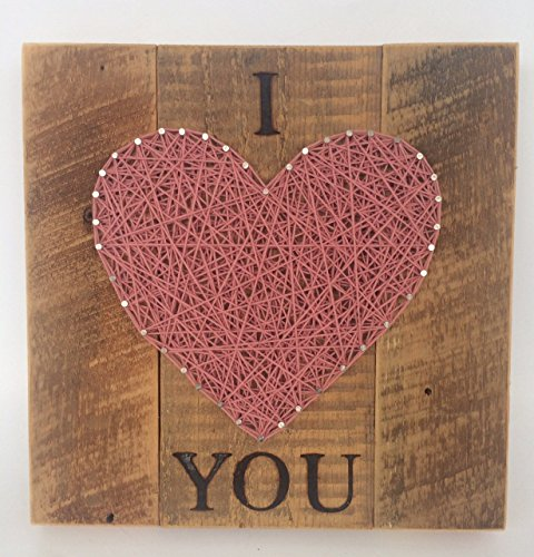 Large Pink I LOVE YOU string art heart sign made on reclaimed wood. A unique gift for Mother's or Father's Day, Weddings, Birthdays and 5 Year Anniversary gifts.