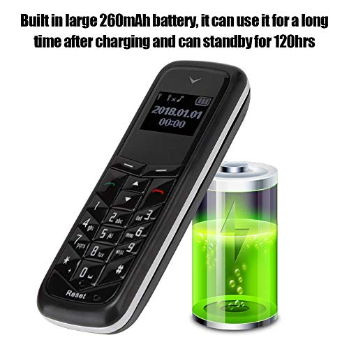 Mini Cell Phone, 0.66in Pocket Bluetooth MP3 Ear Mobile Phone Built-in 260mAh Battery Support 2G SIM Card.(Black)