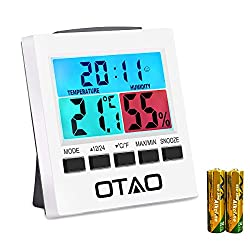 Otao Indoor Thermometer Hygrometer Digital Humidity Monitor Gauge with Backlight Alarm Clock with Colorful LCD Temperature Gauge Humidity Meter(2 Batteries Included)