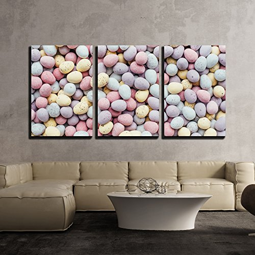 wall26 - 3 Piece Canvas Wall Art - Colorful Easter Eggs - Modern Home Decor Stretched and Framed Ready to Hang - 16