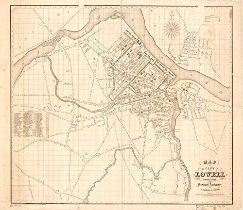 24 x 18 Reprinted Old Vintage Antique Map of: c.1841 Map of The City of Lowell : surveyed in 1841 by Order of The Municipal Authorities m4881 by Vintography
