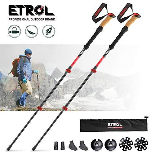 ETROL Trekking Poles-Adjustable Walking Sticks-Collapsible, Quick Lock, Antishock-2pc Pack, Strong, Lightweight Aluminum 7075, Cork Grip, Tips, Padded Strap, Bag Hiking Poles for Men & Women