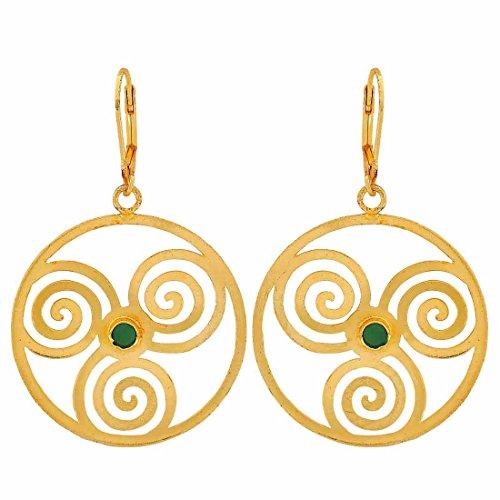 Maayra Filigree Earrings Green Golden Dangler Drop Dailywear Jewellery by Maayra