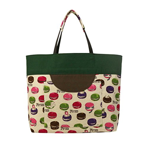 Price comparison product image Hana Butai Women's Tote Bag Cotton Handbag Handmade Totes Macaron Pattern,  Japan Import