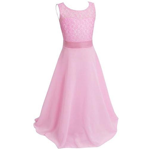 ESHOO Girls Lace Chiffon Wedding Birthday Party Bridesmaid Dress Dance Long Dress Size 4 to 18
