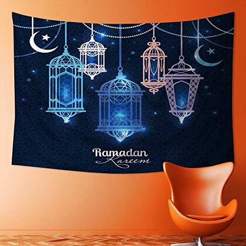 TextileLIHome Tapestry Wall Hanging Mysterious Tapestry Ramadan Kareem Islamic background lantern for Ramadan Tapestry Art for Home Decor(59W x 39.3L INCH) by TextileLIHome