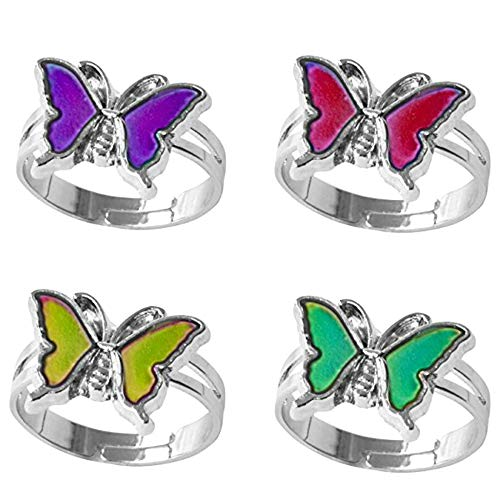 Jiali Q 6pcs Mood Ring Change Color Ring Adjustable Size Temperature Finger Ring (Butterfly)